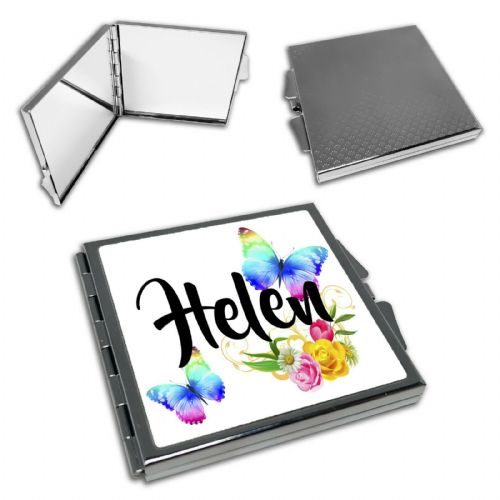 Personalised Beautiful Butterflies & Flowers Novelty Gift Square Compact Mirror